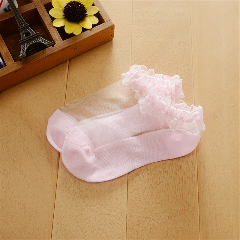 Kids Socks New Summer Baby Girls Lace Pure Color Lace Silk Boat Socks Children's Mesh Socks Thin Crystal Invisible Socks 3