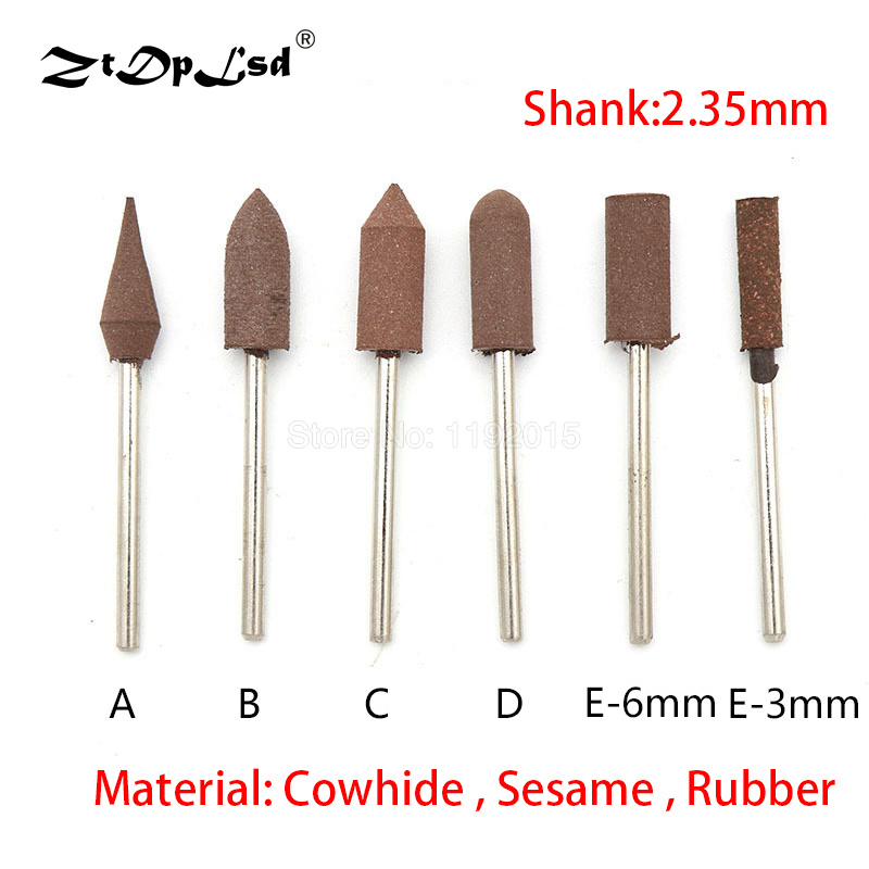 1PCS 2.35MM Shank Sesame Rubber Cowhide Abrasive Grinding Head For Metal Rust Removal Jade Mold Fine Polishing Rotary Tools