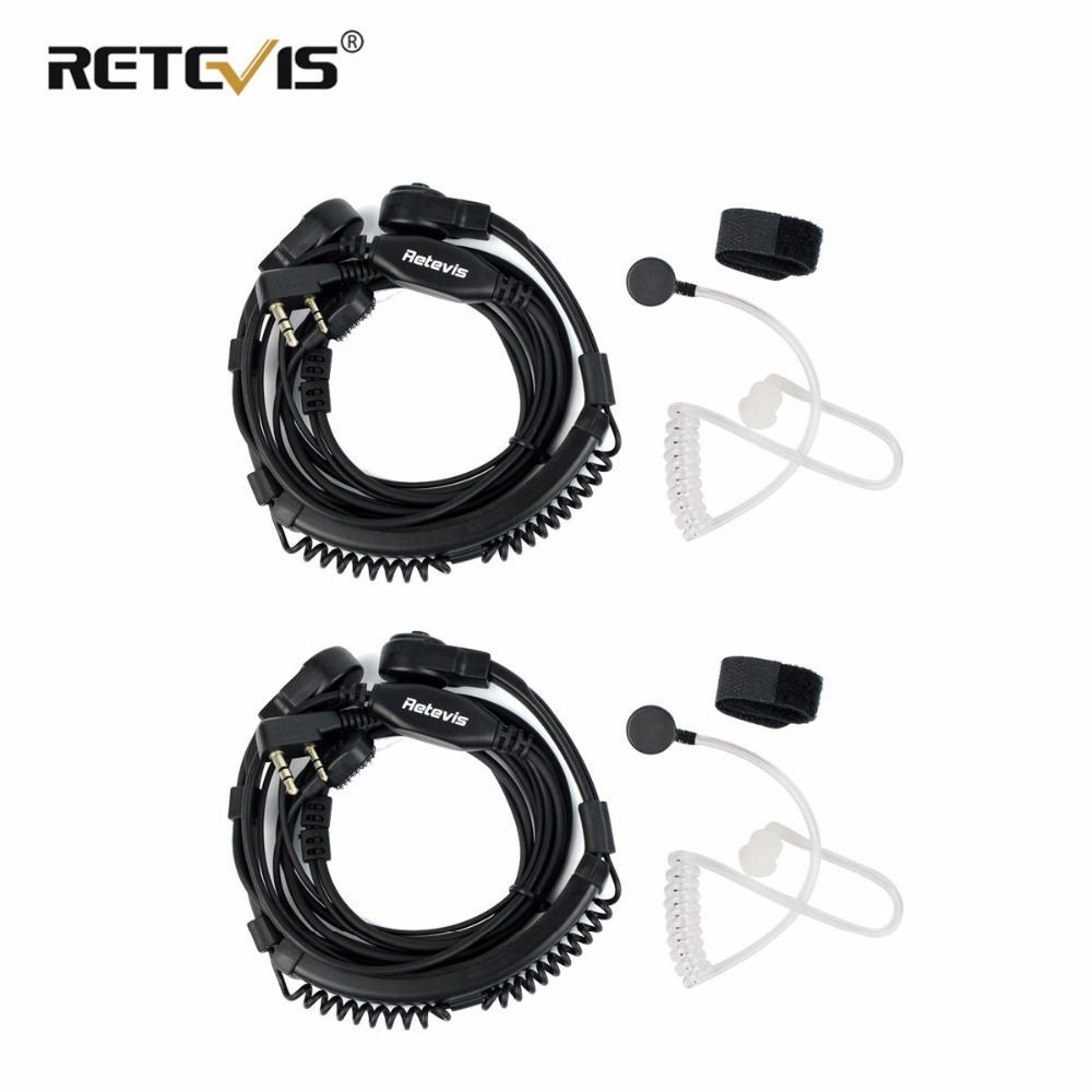 2 stücke Flexible Throat Mic Headset Walkie Talkie PTT Hörer Für Kenwood Baofeng UV-5R UV-82 Retevis H777 RT-5R RT22 RT3 RT81 RT7