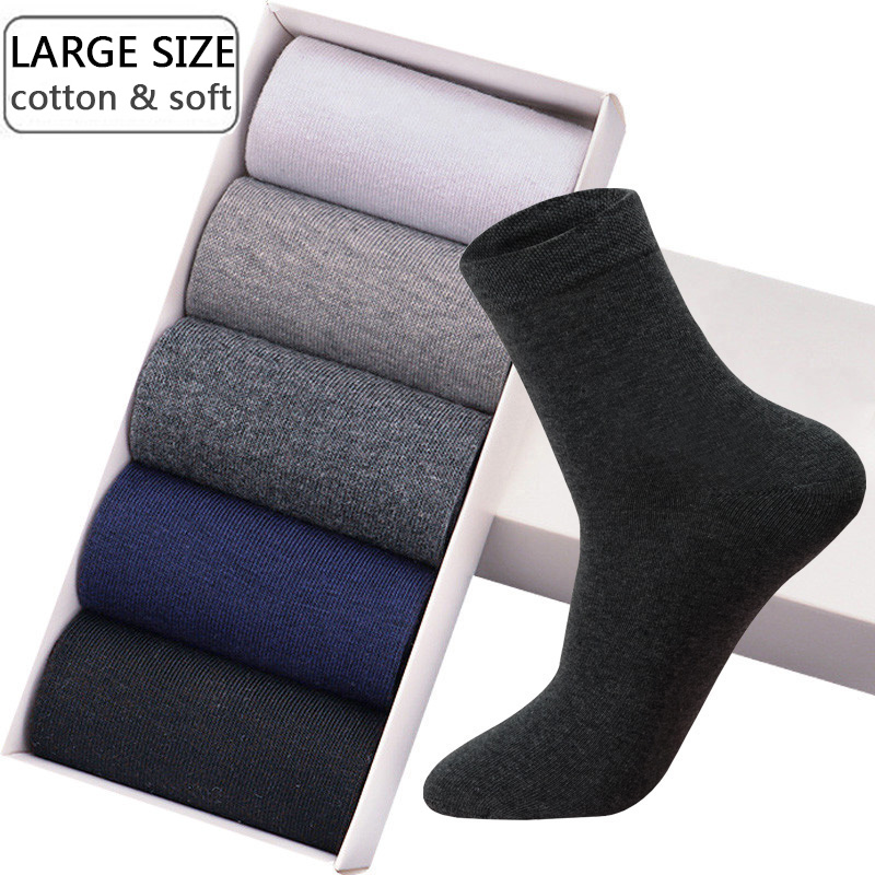 High Quality Men's Cotton Socks New Styles 10 Pairs / Lot Black Business Large Size Breathable Autumn Winter Male EU Size(39-46)