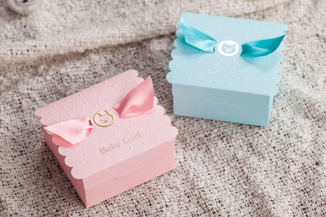 Baby Shower Favor Box Birthday Party Sweet Box Pink Girl Or Blue Boy
