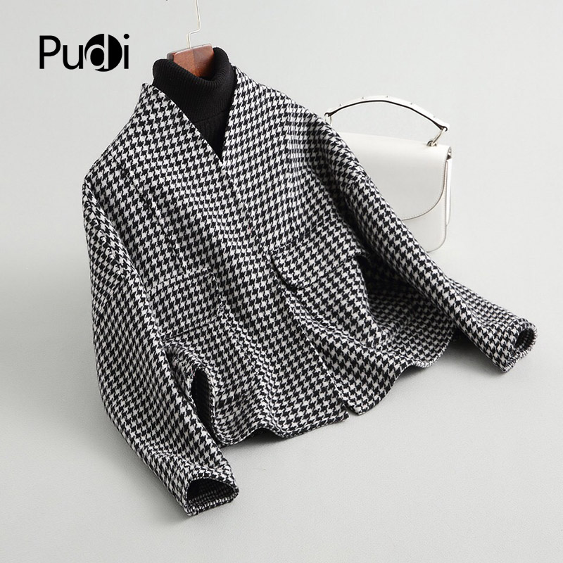 PUDI A37119 2018 Fall Winter new fashion wool jacket lady s SHORT style lattice leisure wool