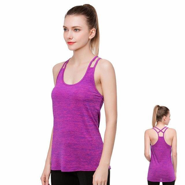 17d2f4819d Feminino roupas de fitness exercício regatas blusa de fitness feminina  academia schulterfrei tops T-shirt