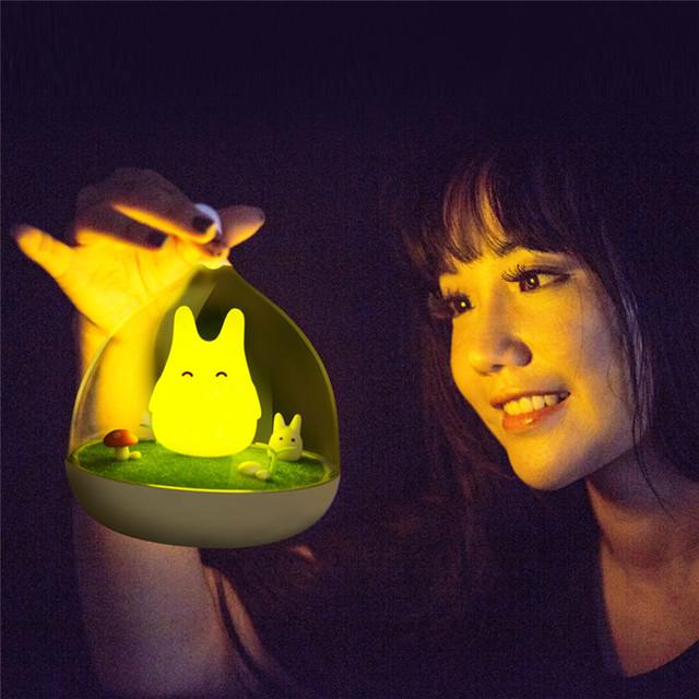 USB criativo Lâmpada LED Noite Interruptor de Luzes Para Quarto Do Bebê Do Sono Totoro Bonito Portátil Presentes de Decoração Para Casa luzes da Noite De Emergência