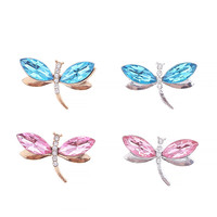 Wholesale 30PCs Silver Gold Tone Alloy Buttons Rhinestone Crystal Paved Animal Dragonfly DIY Jewelry Findings Patch Sticker