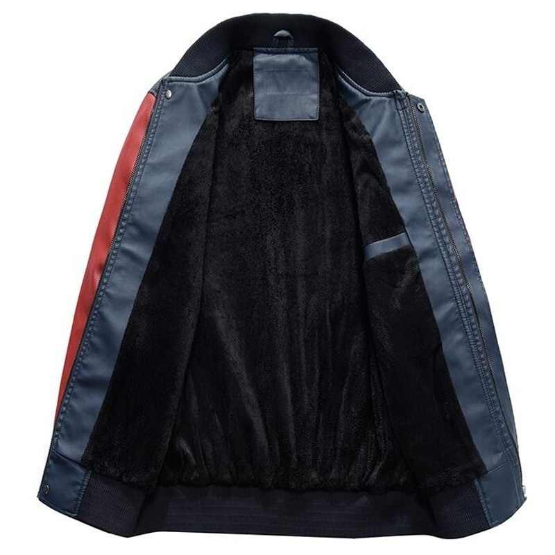 Hommes veste de Baseball brodé en cuir Pu manteaux Slim Fit collège polaire luxe pilote vestes hommes col montant Top veste manteau