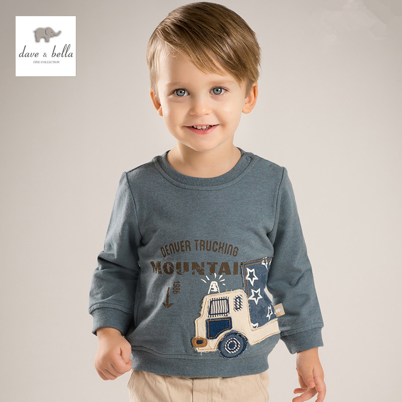 DB4567 dave bella spring baby boy cotton t-shirt infant clothes toddle t shirt boys top high quality boutique tee
