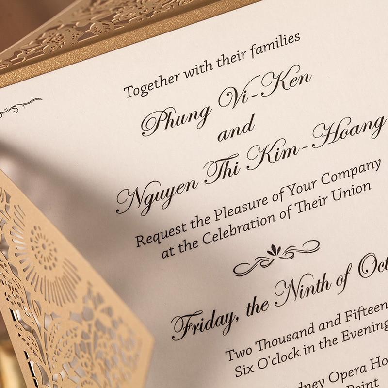 Elegant wedding invitation laser cutting wedding invitation card ...