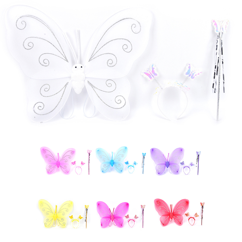 Lovely 3Pcs Girl Kids Butterfly Wing Wand Headband Fairy Xmas Costume Set