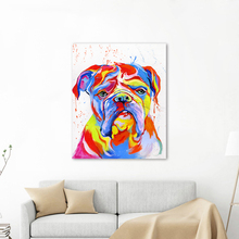 AAVV Wall Art Canvas Pictures Animal Home Decor Bulldog Painting Portrait For Living Room No Frame
