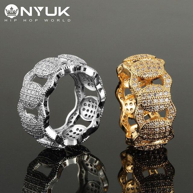 NYUK Copper Bling Good Quality Crystal Ring Gold Silver Rings Men