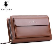 WilliamPOLO 2017 Marke Mode Hohe Qualität Designer Brieftasche Business Münzfach Telefon Fall Mappen-luxus Wallet Männer POLO162