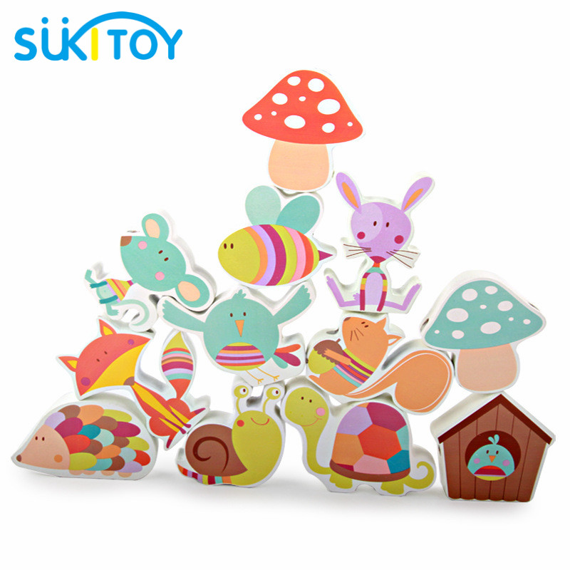 SUKIToy Wooden blocks toys lacing animal for children boys early educational game learning education montessori toy oyuncak montessori education wooden toys four color game color matching early child kids education learning toys building blocks