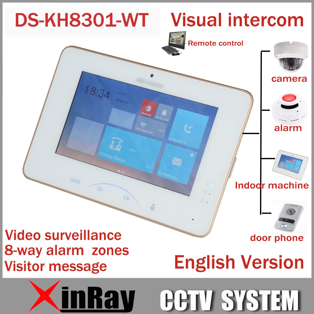Hik 7 Color Touch Screen Video Intercom DS KH8301 WT With 8 Access SOS Emergency Indoor