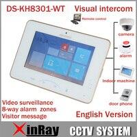 Hik 7 ''цветной сенсорный экран видеодомофон DS KH8301 WT с 8 доступом SOS аварийный Крытый видео Mornitor Поддержка IP камера сигнализации