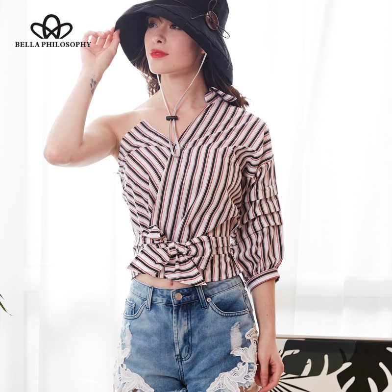 Wonder 2018 Spring summer new Sexy One Shoulder Striped Shirt Blouse Women Casual Sashes Plaid Shirt Streetwear Blouse Blusas