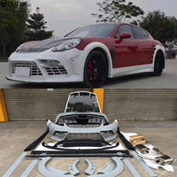 Carbon Fiber Wide Car Body Kit FRP Unpainted Front Bumper Rear Bumper Side Skirt For Porsche