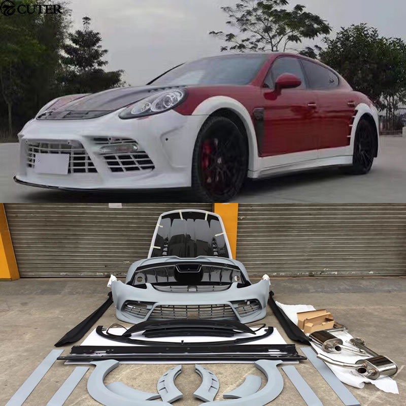 Carbon fiber Wide Car body kit FRP Unpainted front bumper rear bumper side skirt for Porsche Panamera 970 Mansory body kit 09 15 in Body Kits from Automobiles Motorcycles