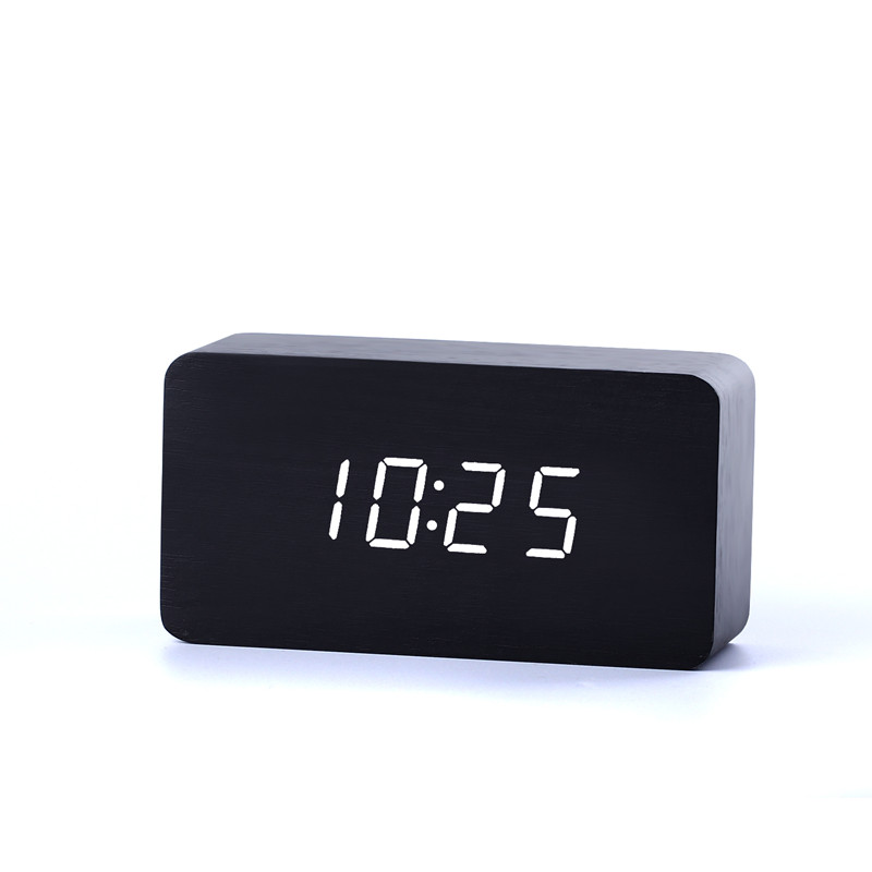 Bamboo&Wooden Digital LEDclock Calendar Thermometer Acoustic Control Sensing desktop vintage table electronic Clocks despertador