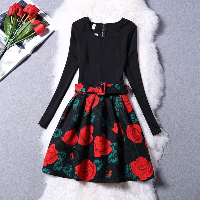 Teenage Girls Rose Print Dot Pattern Dress 2017 New Autumn Winter Long Sleeve Knee length Clothes For Children Girls Clothing fitted long sleeve key print knee length dress