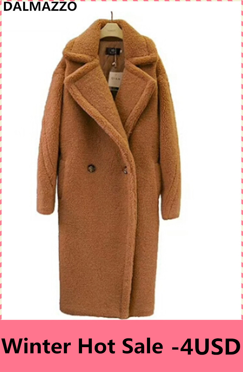 2018 Designer Newest Winter Brown Teddy   Trench   Coat Women Fur Cashmere Overcoat Thick Warm Wool Pocket Long Coats Female S-XL
