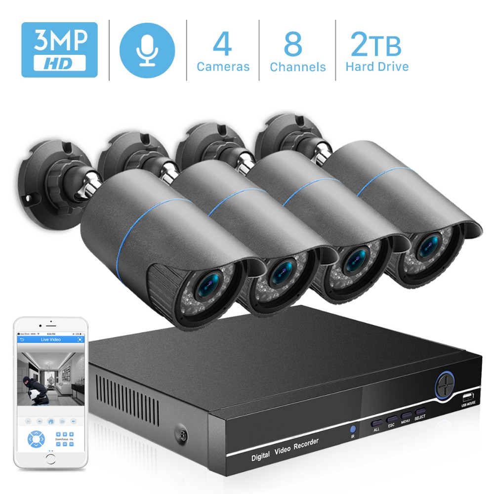 Surveillance-Kit Cctv-Security-System NVR Audio-Record Ip-Camera POE Outdoor-Video 4MP