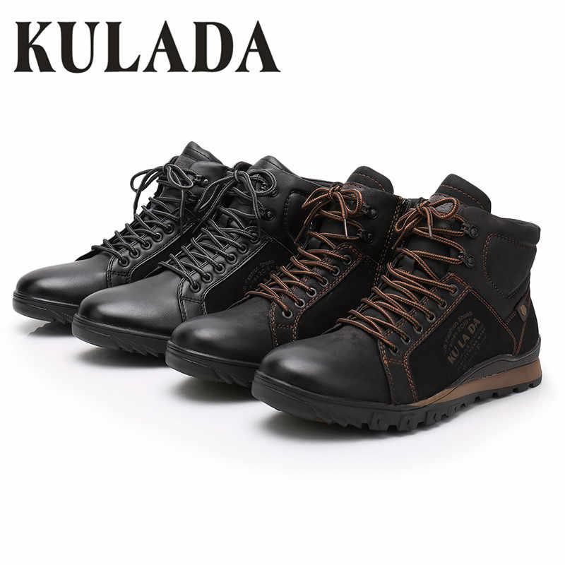 KULADA Новый Мужские ботинки теплые зимние кожаные толстые Меховые сапожки средней высоты Для мужчин на шнуровке Водонепроницаемый безопасности, Рабочая обувь Для мужчин кроссовки повседневные ботинки