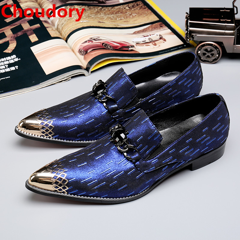Choudory men leather dress shoes blue spiked loafers gold steel pointed toe slipon elegant party wedding dress men's shoes choudory new winter men ankle italian shoes men leather shoes pointed toe mens black dress shoes sequined toe spiked loafers men
