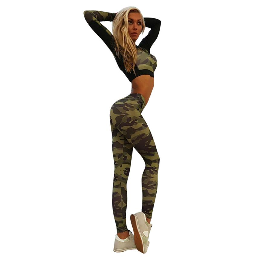 Women Tracksuit Camouflage Stitching Sweatshirt Sets Sport Wear Suit Pants tayt#zy