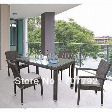 Muebles de mimbre al aire libre juego de comedor patio mesa y sillas ...