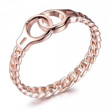 Chic Link Chain Design Circle Crossed Rings For Women Men Sterling Gold Color Filled Wedding Bands Boho Jewelry Gifts Ring(China)