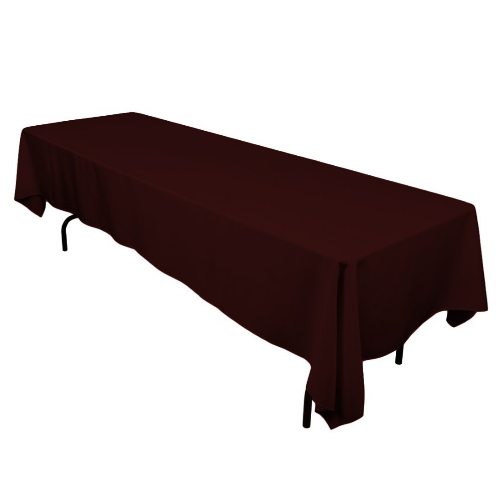 HK DHL Stain Feel 230*260cm Polyester Rectangle Tablecloth Chocolate for Wedding, 5/Pack