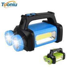 Glare LED Flashlight portable light COB work light Soft light White+yellow light Use 3 x AA battery for camping, adventure, etc