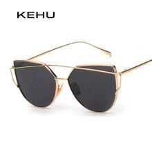 Kehu new женщин 6 цвет роскошный cat eye солнцезащитные очки женщины солнцезащитные очки двухэтажные сплава кадр uv400