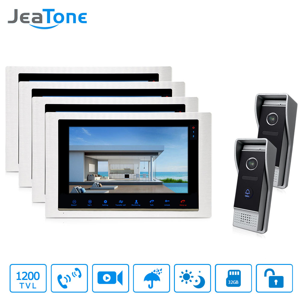 JeaTone 10 TFT inch Video Doorbell Hands-free Dual Communication 4 Monitor IR Night Vision 3.7MM Lens 2 Camera Intercom jeatone 10 hd wired video doorphone intercom kit 3 silver monitor doorbell with 2 ir night vision 2 8mm lens outdoor cameras