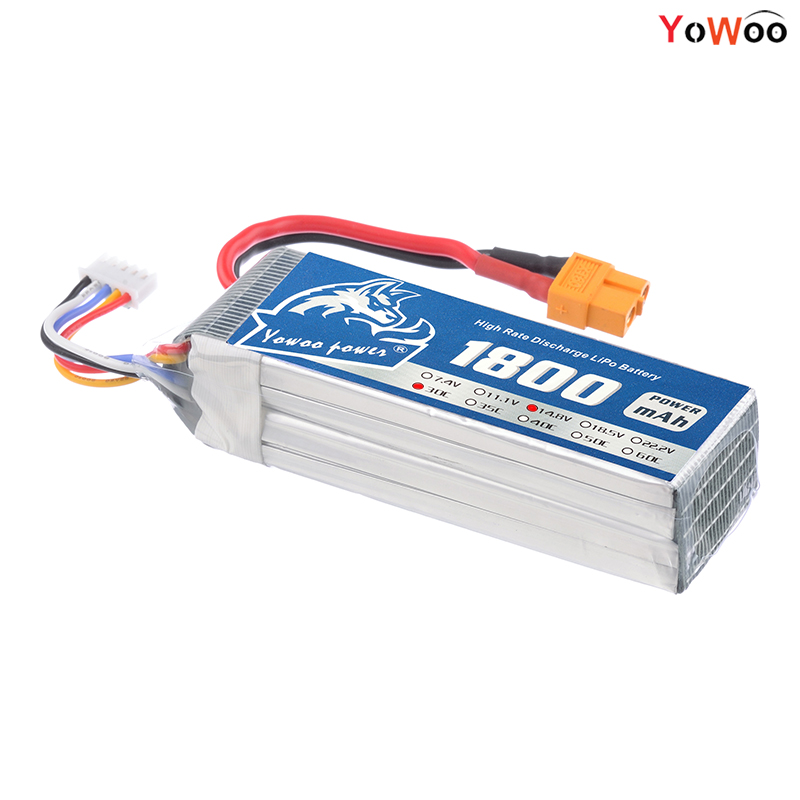 YOWOO Lipo 4S Battery 14.8V 1800mAh 30C Max 60C Drone AKKU For RC Bateria UVA Helicopter Car Boat Model Airplane Quadcopter FPV gdszhs rechargeable 3s lipo battery 11 1v 2200mah 25c 30c for fpv rc helicopter car boat drone quadcopter href