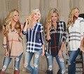 Novo 3xl 2017 primavera outono tops t-shirt tendências da moda de boa qualidade mulheres sexy casual plaid impresso fino t-shirt com decote em v vestidos