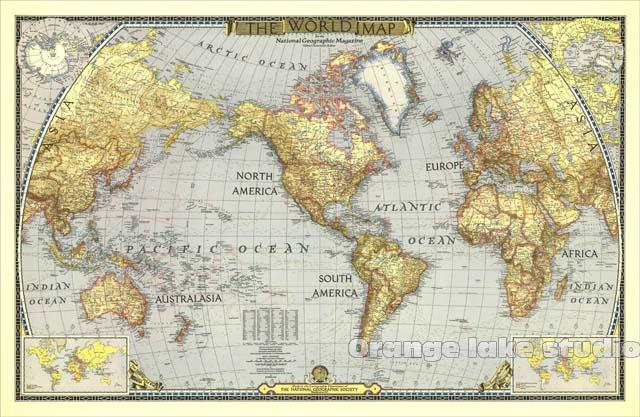 Grande carte du monde HD WWII salles de classe bureau décoration de la maison détaillé Antique affiche murale tableau coton tissu toile peinture 2 taille
