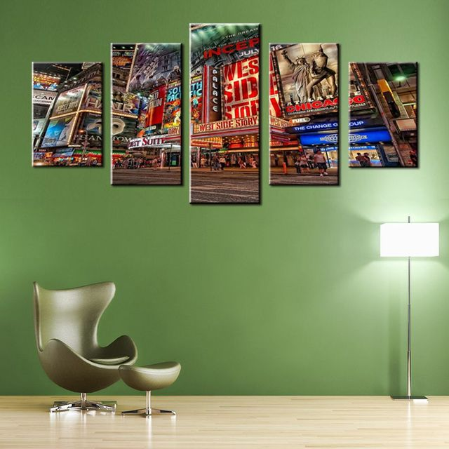 Multicolor Picture Times Square Theater District Poster Chicago City ...