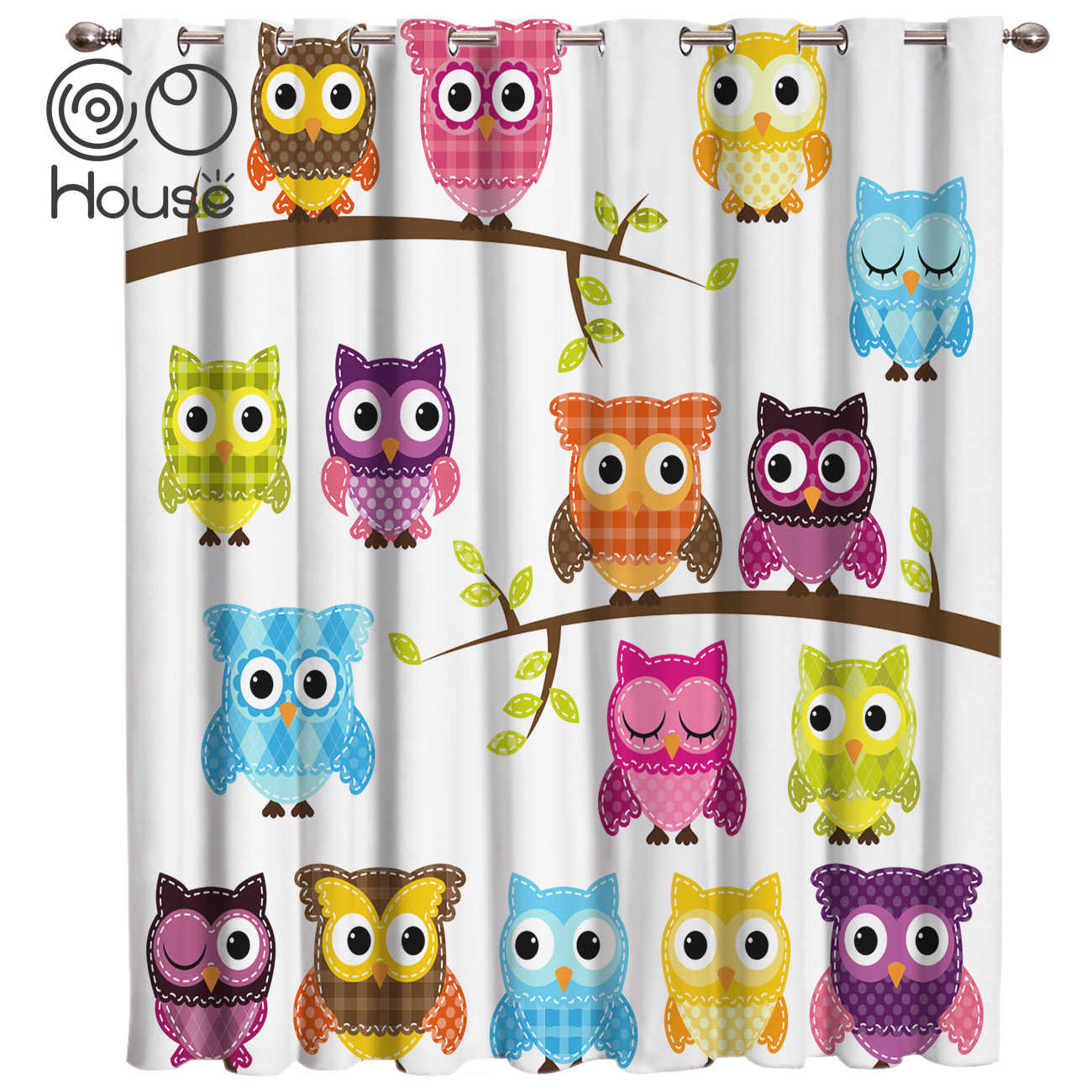 COCOHouse Cartoon Owl Animals Window Treatments Curtains Valance Curtain Lights Living Room Bathroom Blackout Curtains Outdoor