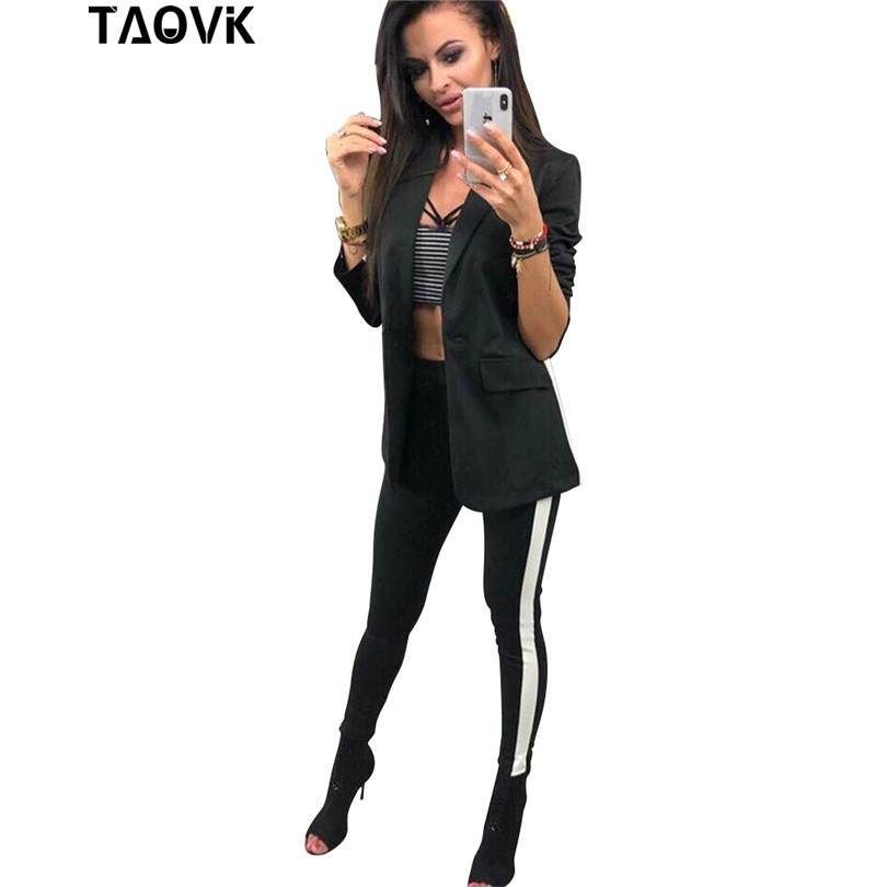 TAOVK OL Pant Suits Chic Women's Sets Long Single Button Lining Blazer Pockets Jacket +Skinny Pecil Pants Two Pieces Track Suit