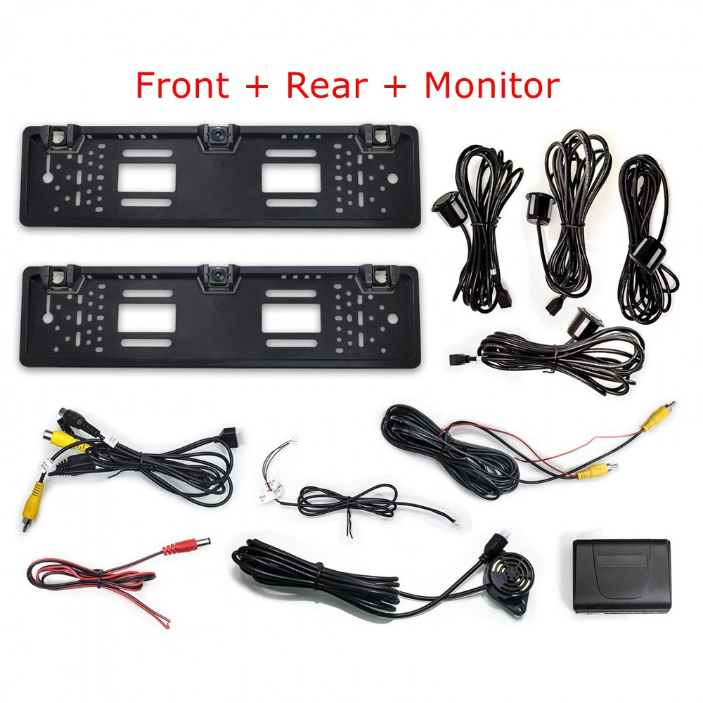1 Car Rear View Camera + 2 Parking Sensor + 1 European License Plate Frame Auto Back Rear View Camera In License Plate Frame