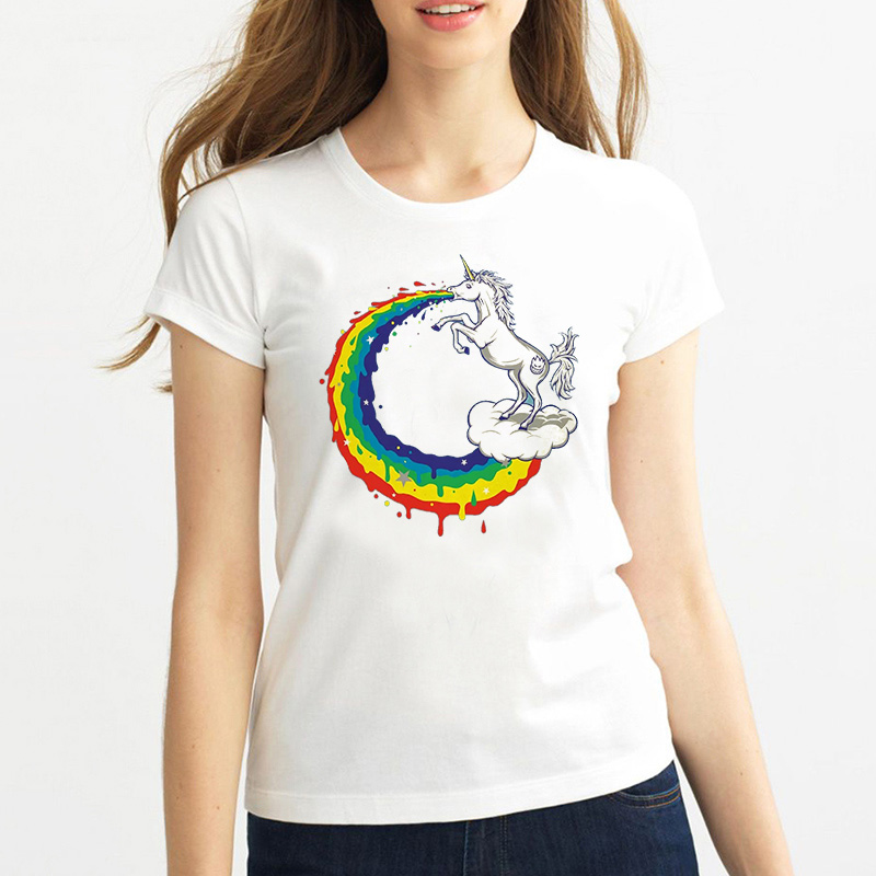 Newest Funny Unicorn Rainbows T-Shirt Summer Harajuku Cartoon T Shirt Womens Fashion Novelty Short Sleeve Tee Tops Clothes