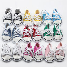 2018 Hot Sale 18 inch Doll Shoes Canvas Lace Up Sneakers Shoes For 18 inch Our Generation American Boy Dolls Accessories(China)