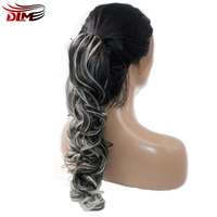 DLME Premium Curly 2T Ombre Black Brown Dark Root Women Wig Half Hand Glueless Elastic Strap