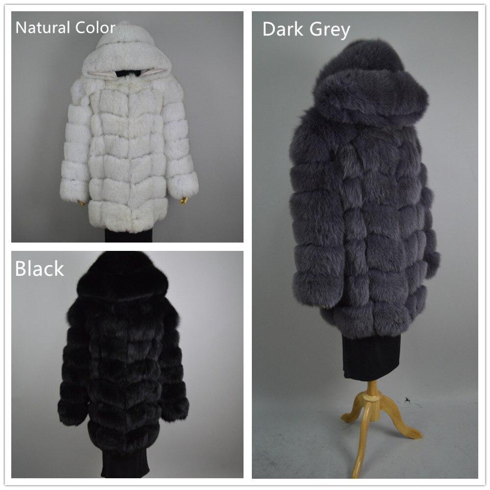 2017 Matériel Natural Mandarin Réel De 3 Avec Col Moyen Couleurs Manteau darkgrey C107 Long black Bleu Taille Capuche Pleine Fourrure S 8xl Pelt Renard r4rPac1