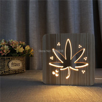 Leaf 3D Visual Illusion wooden Table Lamp