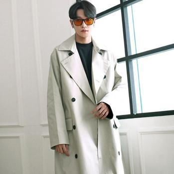 Turn-down collar medium-long loose trench coat men overcoat long sleeve mens clothing fashion belt outerwear casaco masculino