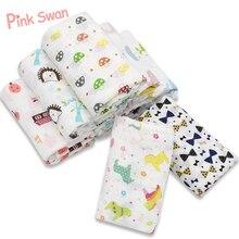 Розовый Лебедь, Муслин, хлопок, детское Пеленальное Одеяло, многоразовое, для новорожденных, пеленание, для младенцев, Марлевое, оба полотенца, детское одеяло для коляски