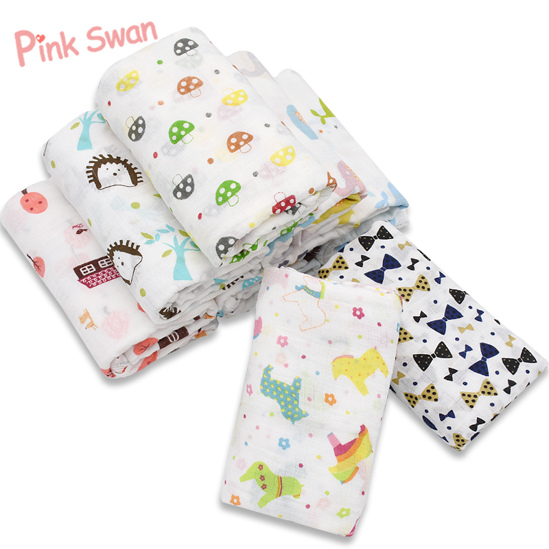 PINK SWAN 100% Muslin Cotton Baby Swaddle Blanket Multi-use Newborn Swaddle Infant Gauze Both Towel Baby Warp Stroller Cover